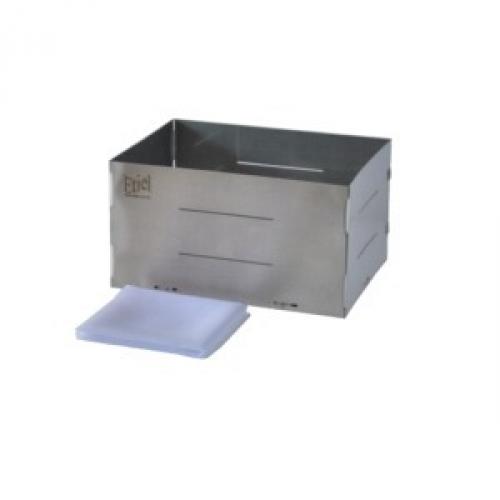Forma de aço inox retangular para queijo  de até 2,350kg. Básica